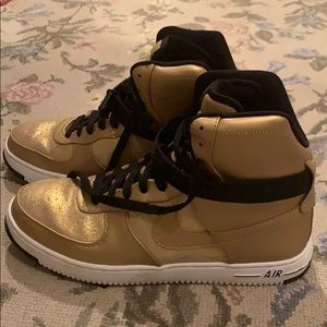 Gold Nike Air Force Ones